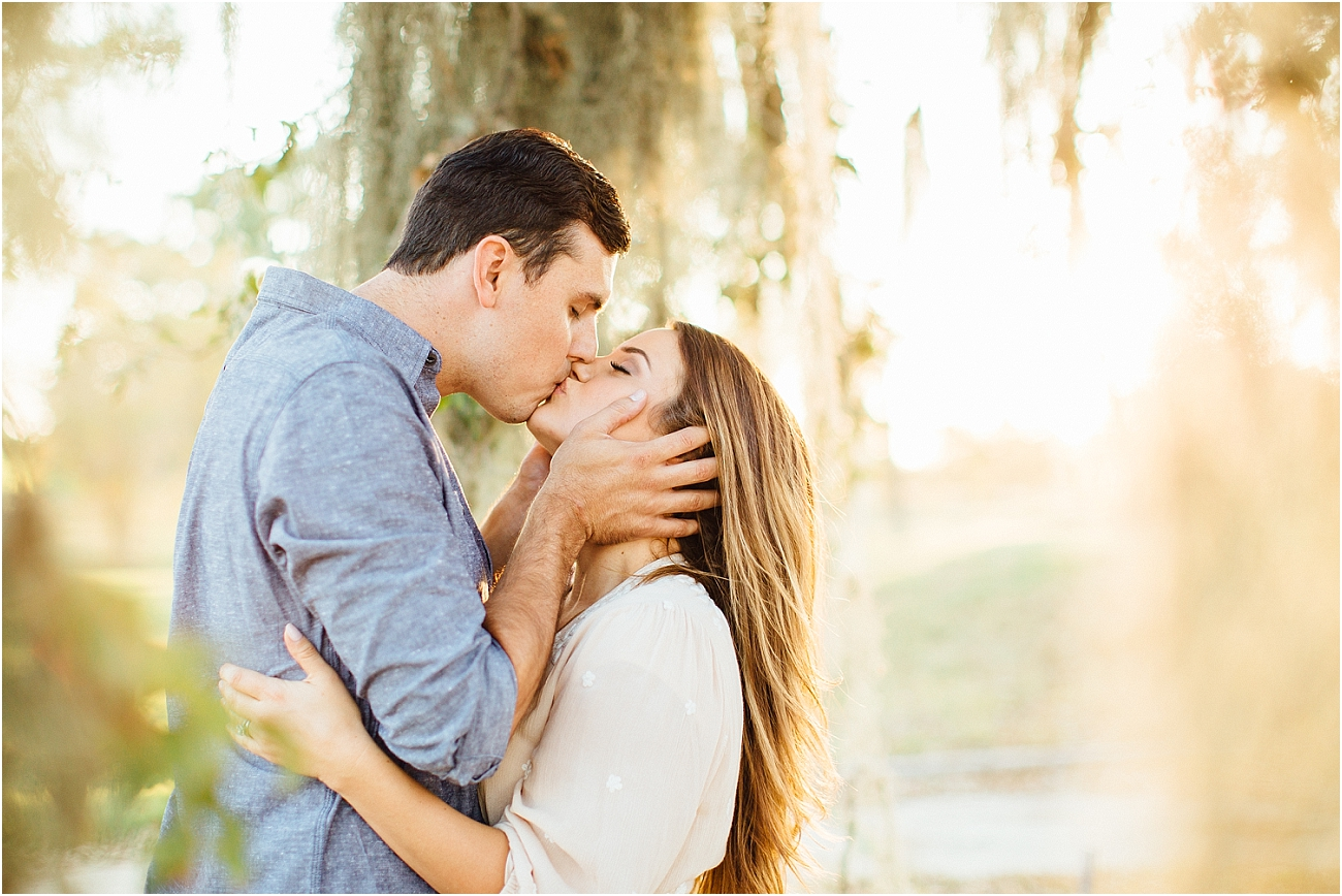 Houston Spring Spanish Oak Engagement Session with English Bulldog